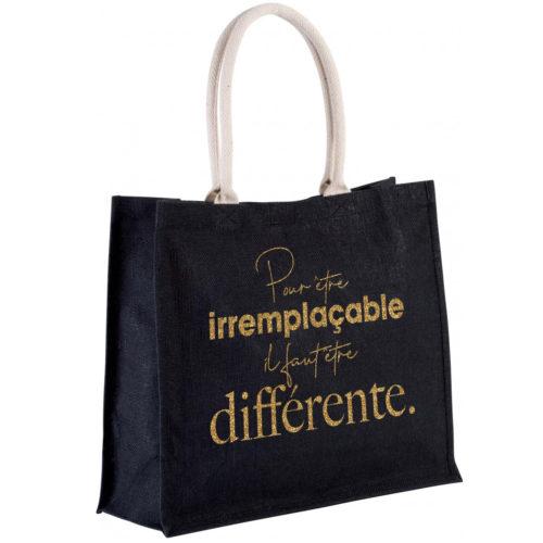sac-noir-jute-cabas-23L-texte-personnalisable-marquage-couleur-paillette-onely-or