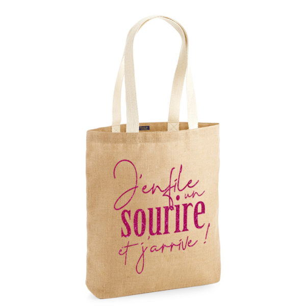 tote-bag-qualite-jute-naturel-cabas-14L-texte-personnalisable-marquage-couleur-paillette-onely-rose
