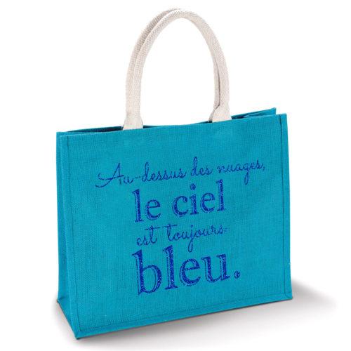 sac-bleu-turquoise-jute-cabas-23L-texte-personnalisable-marquage-couleur-paillette-onely-bleu