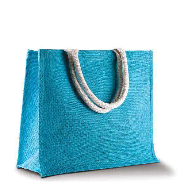 sac-bleu-turquoise-jute-cabas-23L-texte-personnalisable-marquage-couleur-paillette-onely-vierge